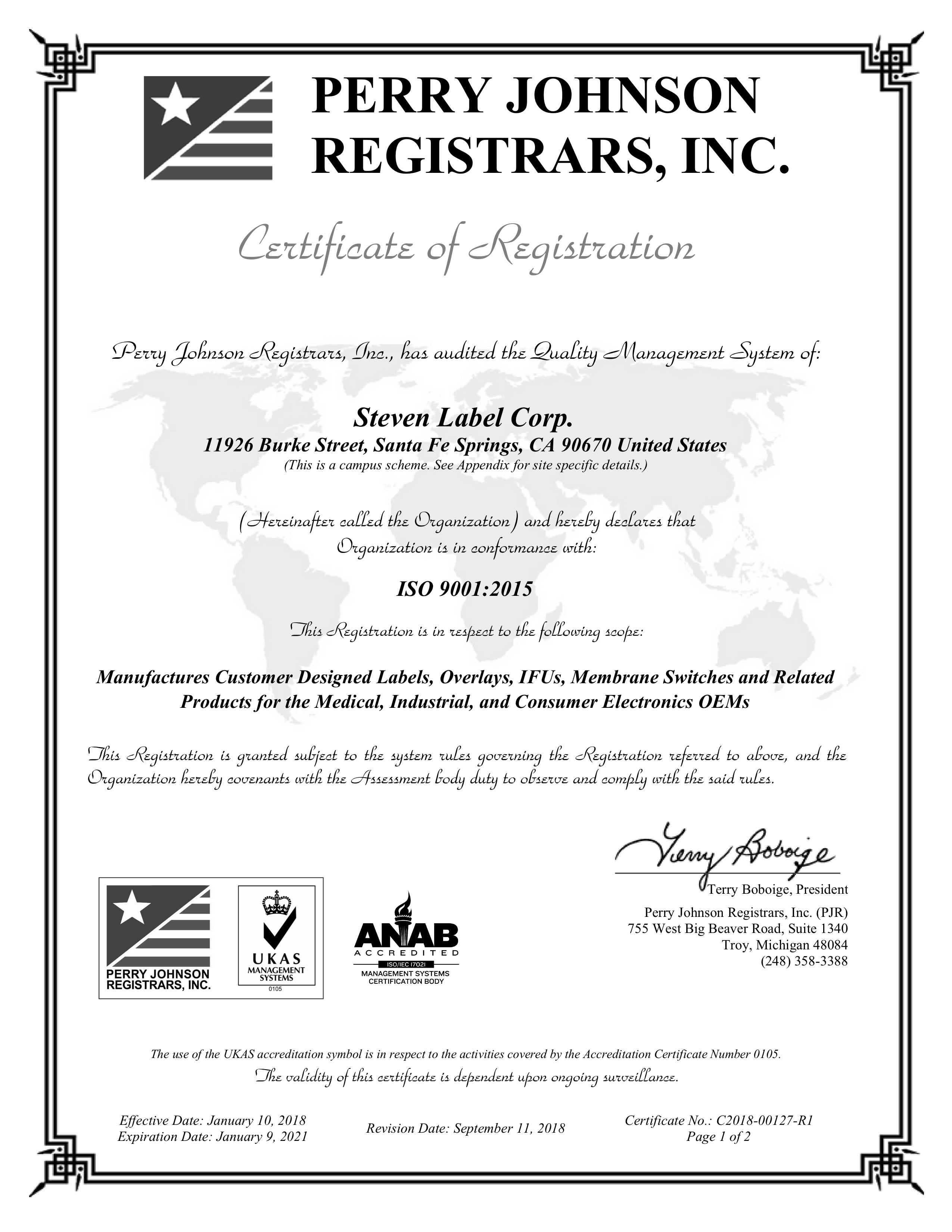 Steven Label achieves ISO 9001:2015 Certification!