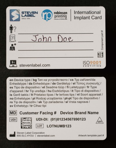 Patient Implant Cards